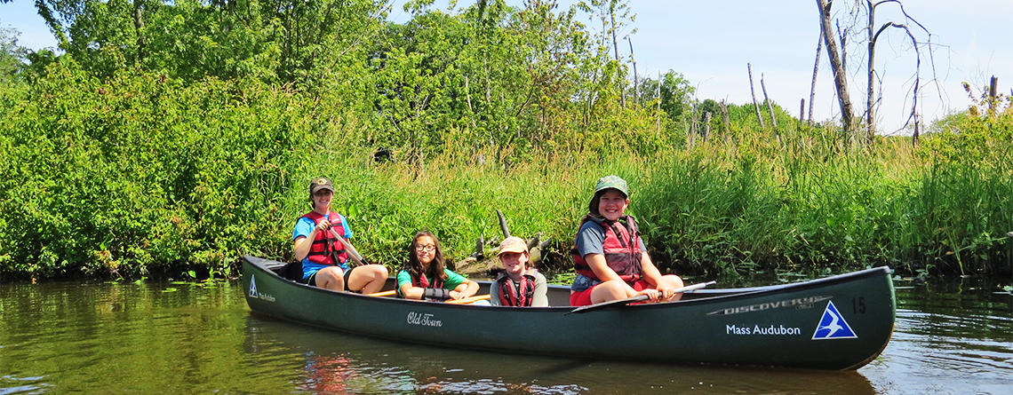 Ipswich River campers exploring by canoe