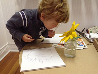 Nature Preschool Boy Studying Flower 320