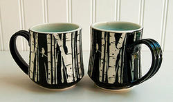 pair of birch mugs by Melynn Allen