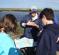 Naturalist with students at Joppa Flats Education Center