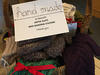 Sign for hand knit items fundraiser at Joppa Flats