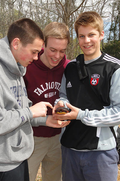 High school students with a Painted Turtle