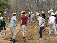 Lawrence 7th graders building vernal pool