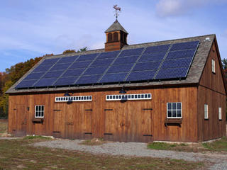 CSA barn with solar panels at Mass Audubon Moose Hill Wildlife Sanctuary