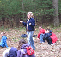 A school group at Moose Hill Wildlife Sanctuary