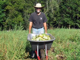 Wheelbarrow full of watermelons at Moose Hill Wildlife Sanctuary