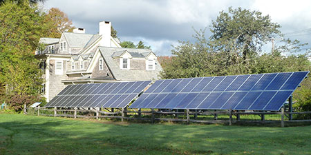 Ground mounted solar array at Mass Audubon North River Wildlife Sanctuary