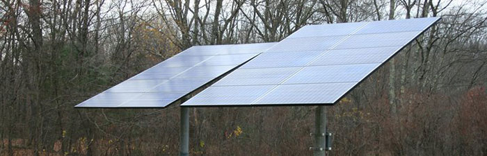 Ground mounted PV array at Oak Knoll Wildlife Sanctuary