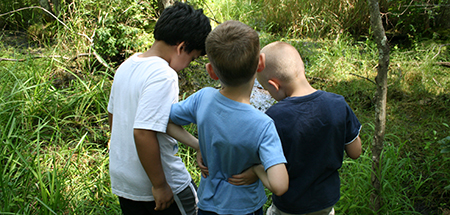 Three campers at Oak Knoll Wildlife Sanctuary Camp