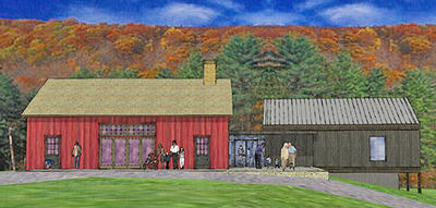 Architect's rendering of Pleasant Valley barn addition