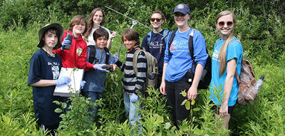 Berkshire campers on wooded hike