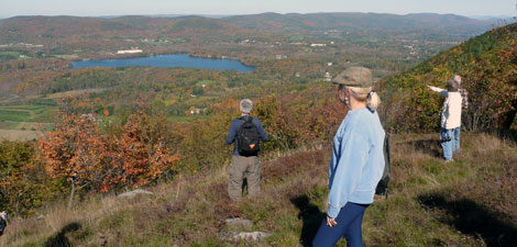 People looking at the view at Mass Audubon Pleasant Valley Wildlife Sanctuary