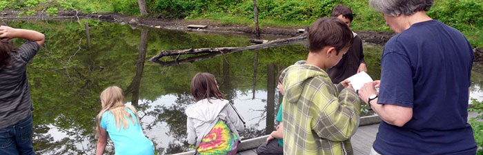 Students ponding at Pleasant Valley Wildlife Sanctuary