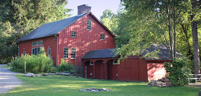 PV's historic red barn in summer