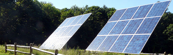 ground mounted solar arrays at Mass Audubon Pleasant Valley Wildlife Sanctuary