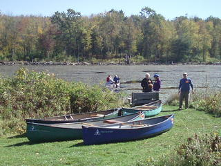 Visitors Enjoying Canoe Rides on Wildlife Pond