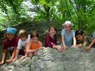 Climbing boulders during April vacation week