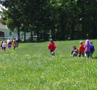 Preschool students in a field at Wachusett Meadow Wildlife Sanctuary