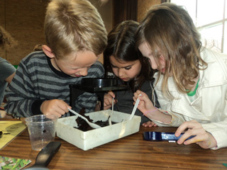 Preschool students looking through microscope