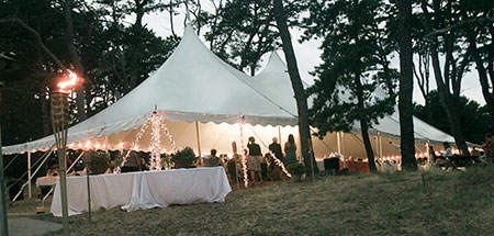 Tent during a function at Wellfleet Bay Wildlife Sanctuary