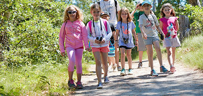Wellfleet campers on a trail