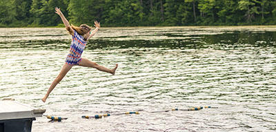 Leaping Off the Dock Into the Pond