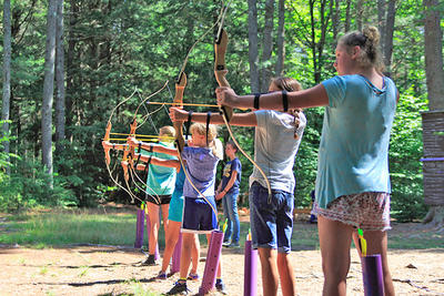 Campers doing archery at Wildwood
