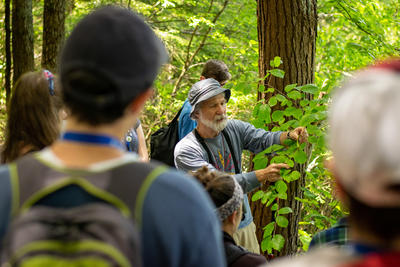 A Mass Audubon Naturalist leads a group in plant identification