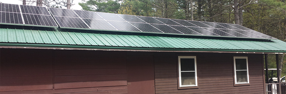 Roof-mounted solar PV array at Wildwood