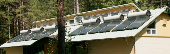 Solar thermal system heats water in the showerhouse at Mass Audubon Wildwood Camp
