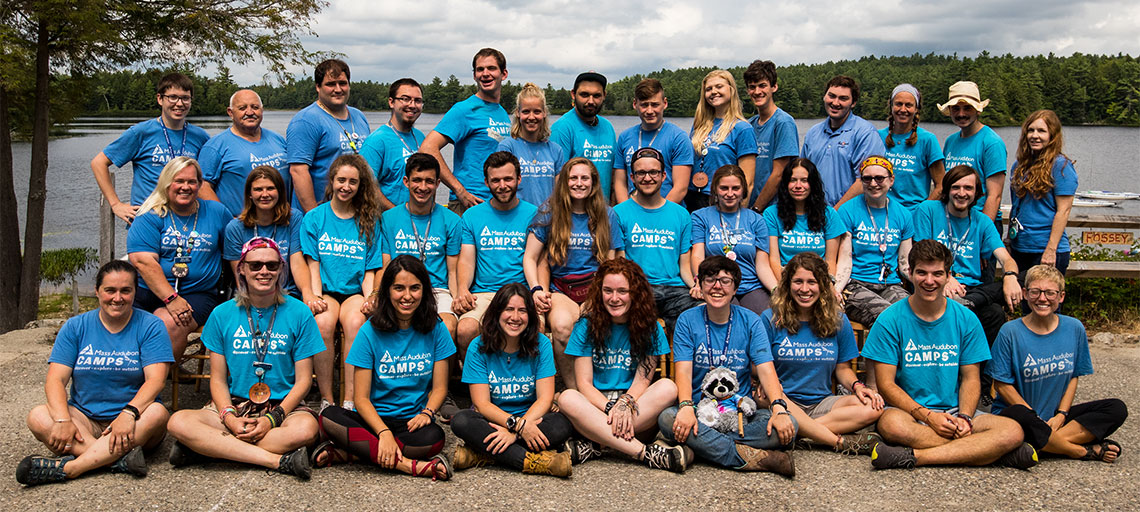 Wildwood Staff for 2019 group photo in blue staff t-shirts