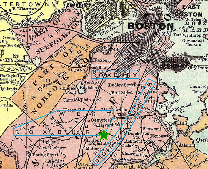 1903 map by Rand McNally & Co. of Chicago shows West Roxbury, Roxbury, and Dorchester. Map reproduction courtesy of the David Rumsey Map Collection / Cartography Associates.