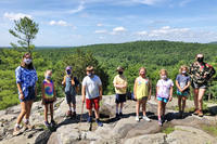 Campers & counselors at Blue Hills overlook as part of Blue Hills Nature Day Camp