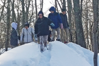 Students exploring BMB in the snow