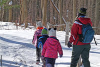 BMB preschoolers exploring trail in winter