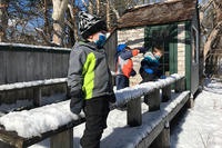 A few Fern & Feather preschoolers enjoying the snow while wearing face masks