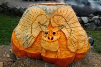 Pumpkin carving of an owl at Ipswich River's Halloween Happenings