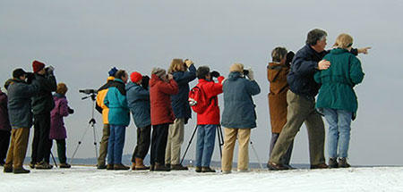 Bill Gette with winter birding group