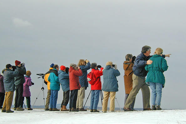Former Sanctuary Director Bill Gette with winter birding group