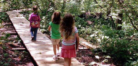 Kids walking along the boardwalk trail at Mass Audubon Oak Knoll Wildlife Sanctuary