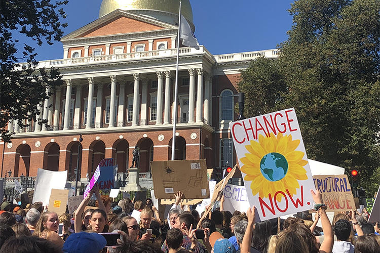 2019 Youth Climate Strike in front of MA State House (Mass Audubon/Erin Ellingwood)