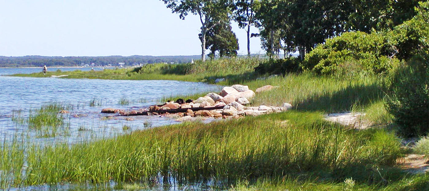 A small beach on the Sacred Hearts property in Wareham, MA