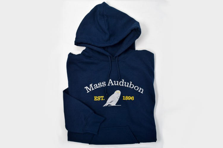 Mass Audubon branded hoodie with Snowy Owl graphic