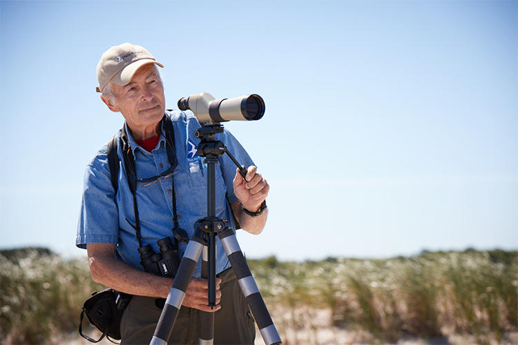Birding with a scope at Wellfleet Bay Wildlife Sanctuary