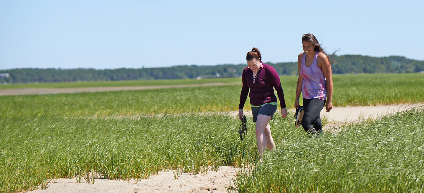 Walking the beach trail at Wellfleet Bay Wildlife Sanctuary