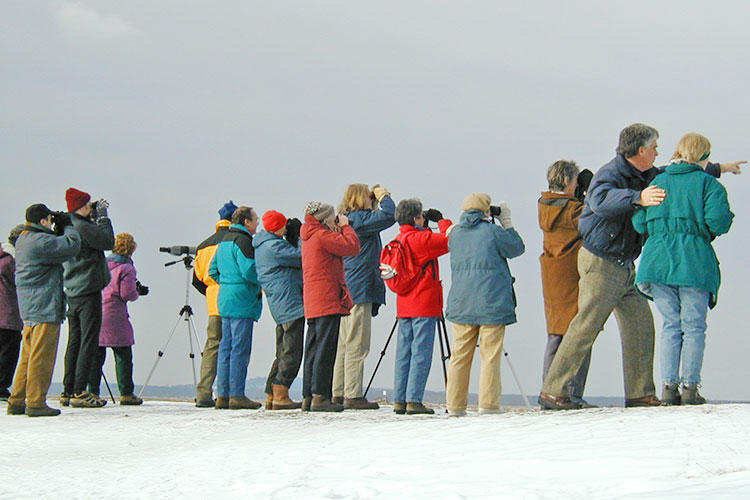 Former Joppa Flats Sanctuary Director Bill Gette with winter birding group