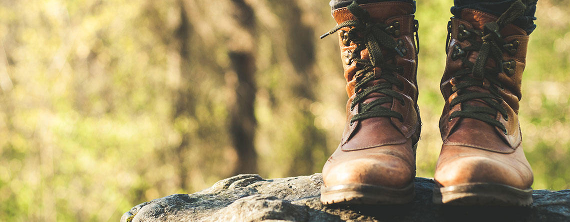 Closeup of hiking boots